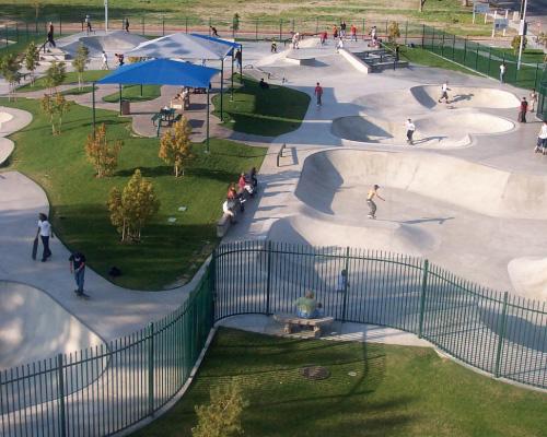 aerial view of skatepark