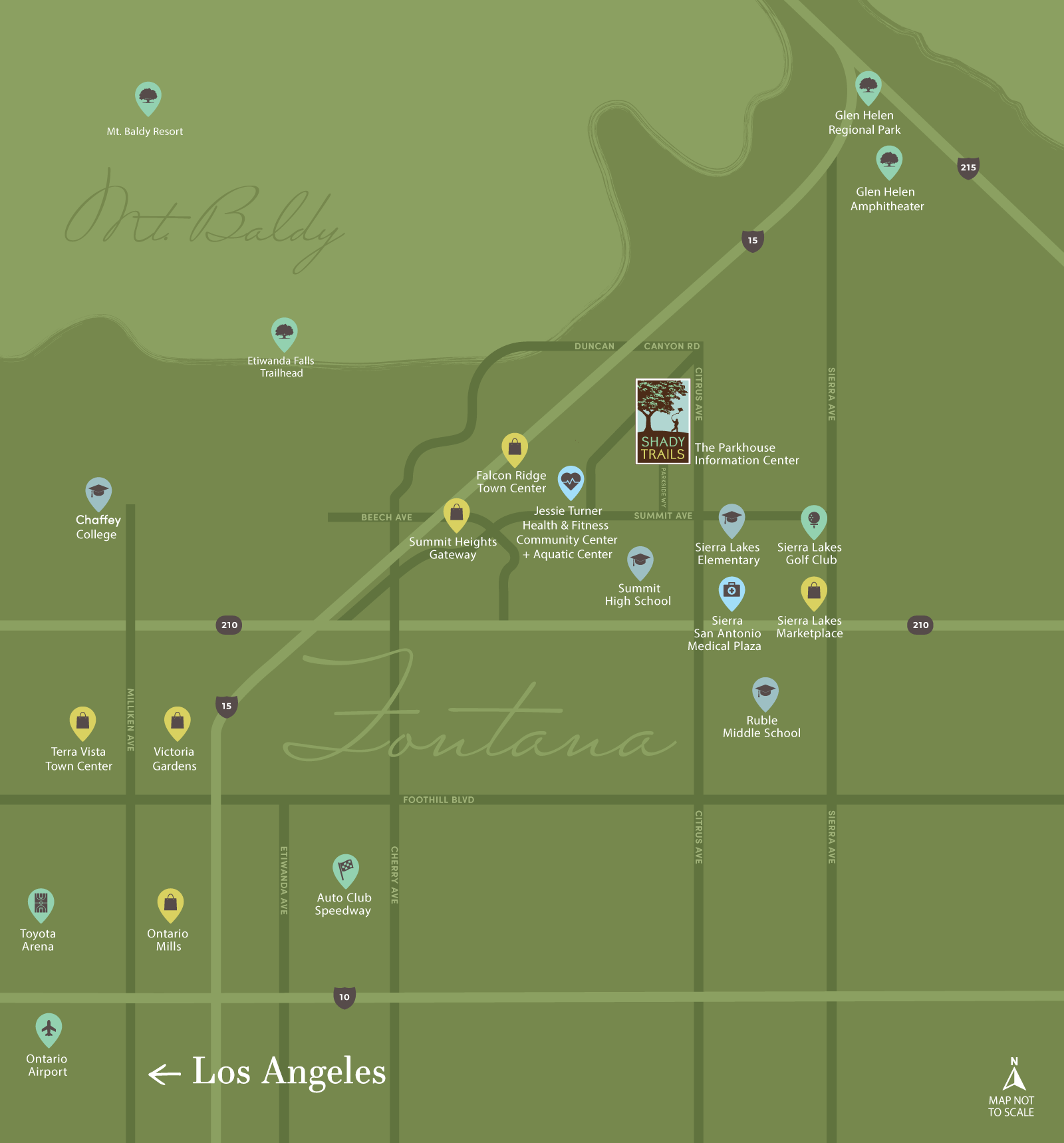 map of the area around Shady Trails in Fontana, CA